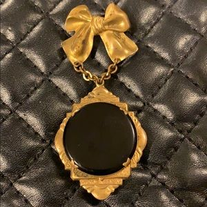 Antique Victorian Mourning Onyx Locket Brooch